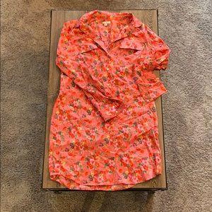 GAP floral long sleeve shirt dress w/ collar